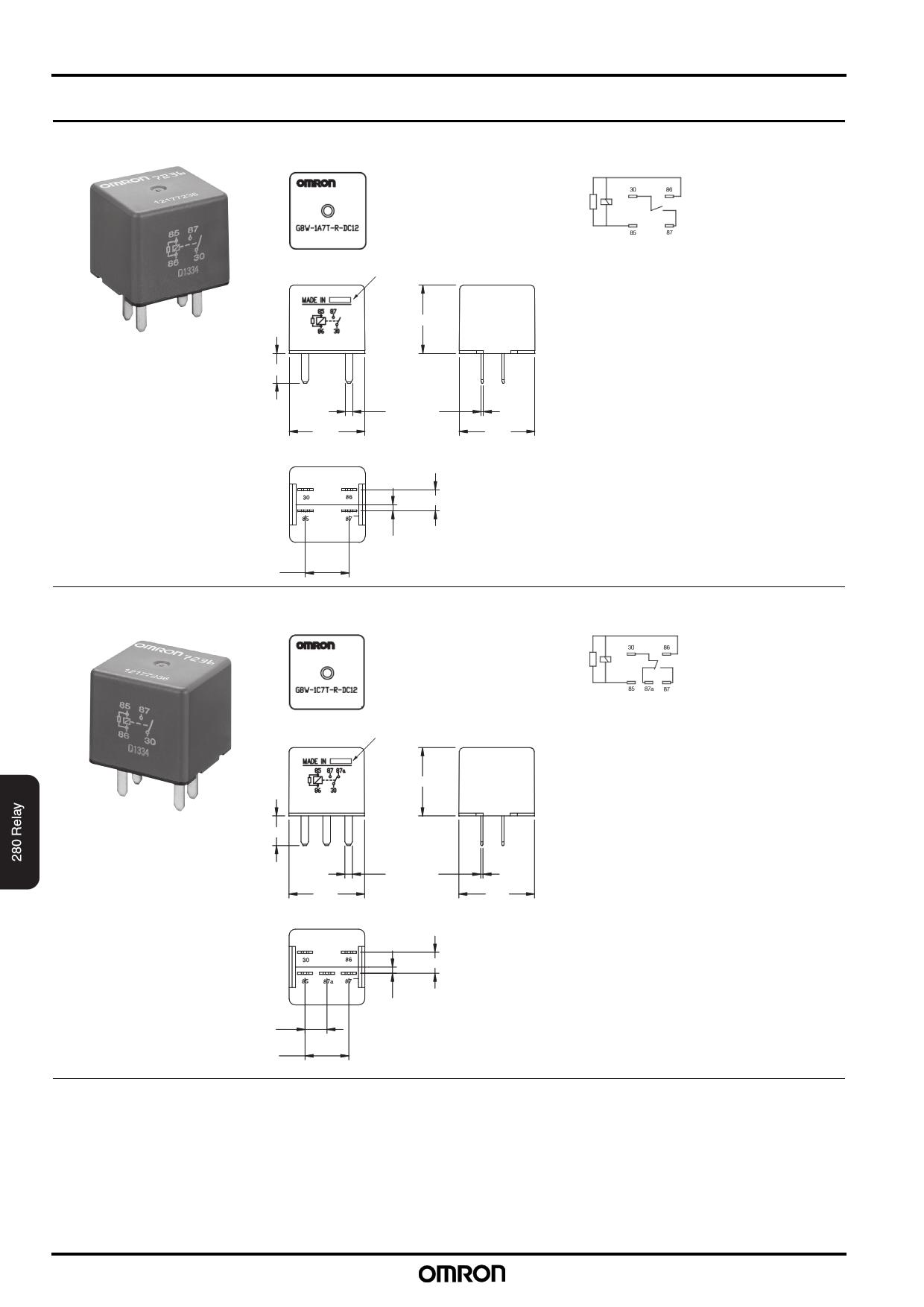 G8W-1A7T-R pdf, ピン配列