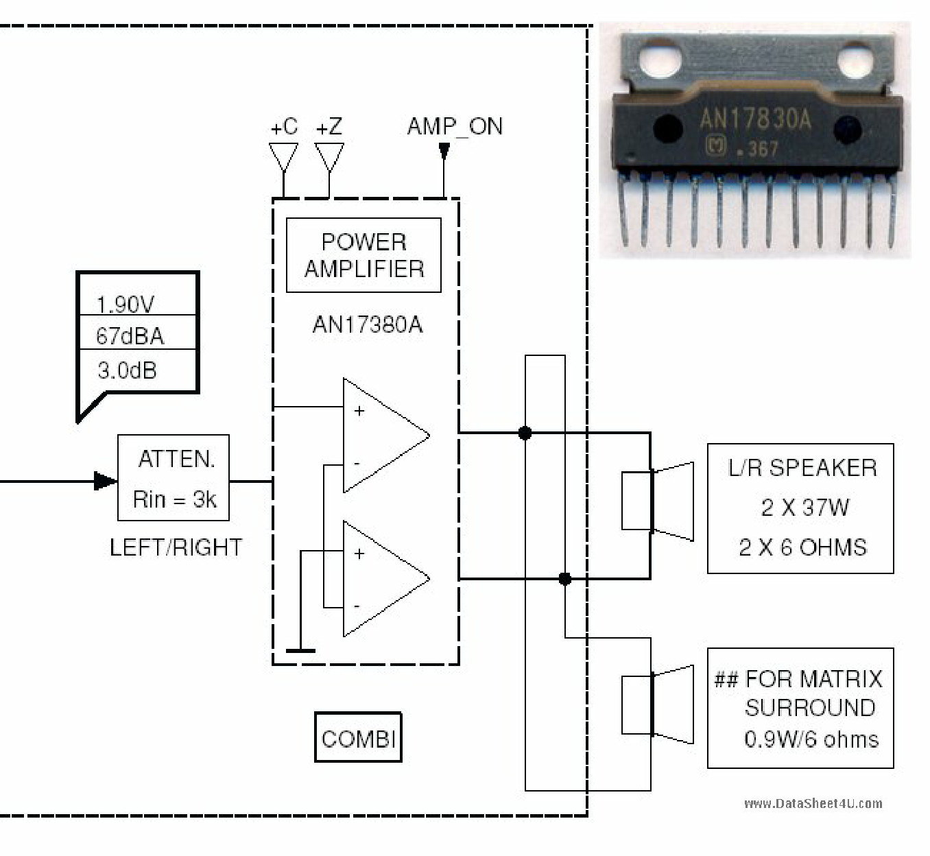 an17830a datasheet pdf   pinout    bridge audio power amplifier ic