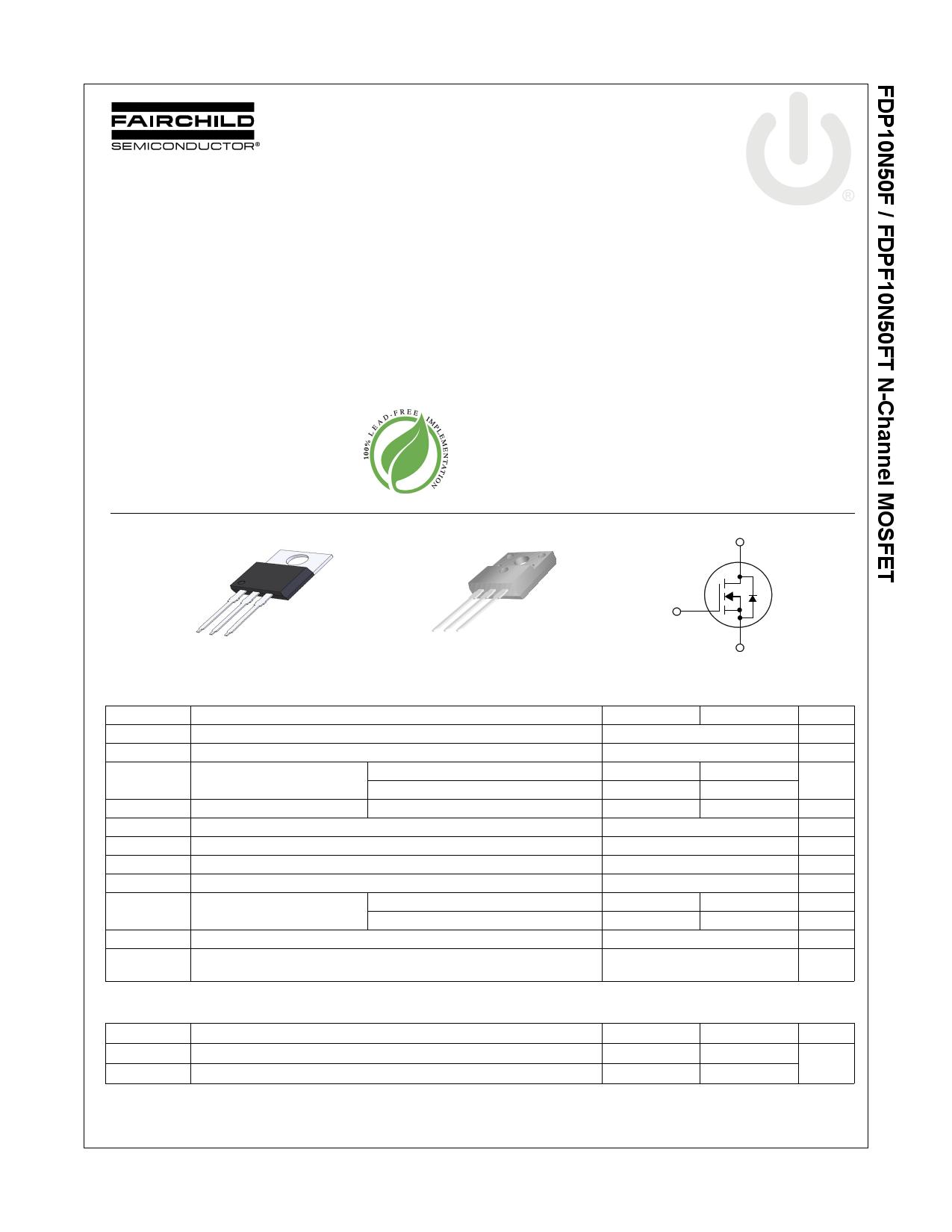 FDPF10N50FT 데이터시트 및 FDPF10N50FT PDF