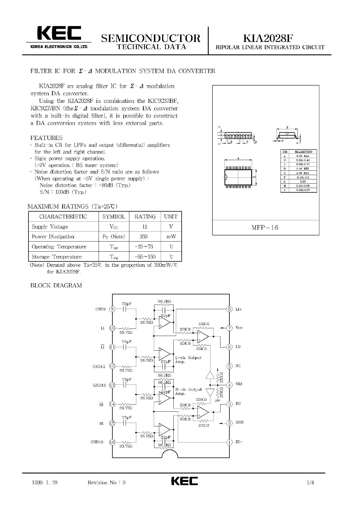 KIA2028F 데이터시트 및 KIA2028F PDF