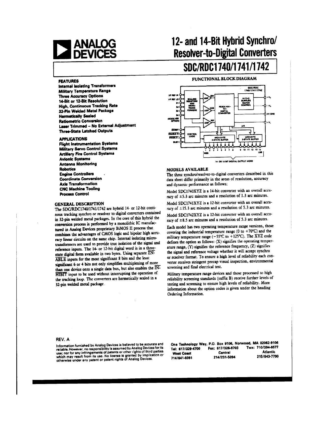 sdc1741 datasheet pdf   pinout     resolver