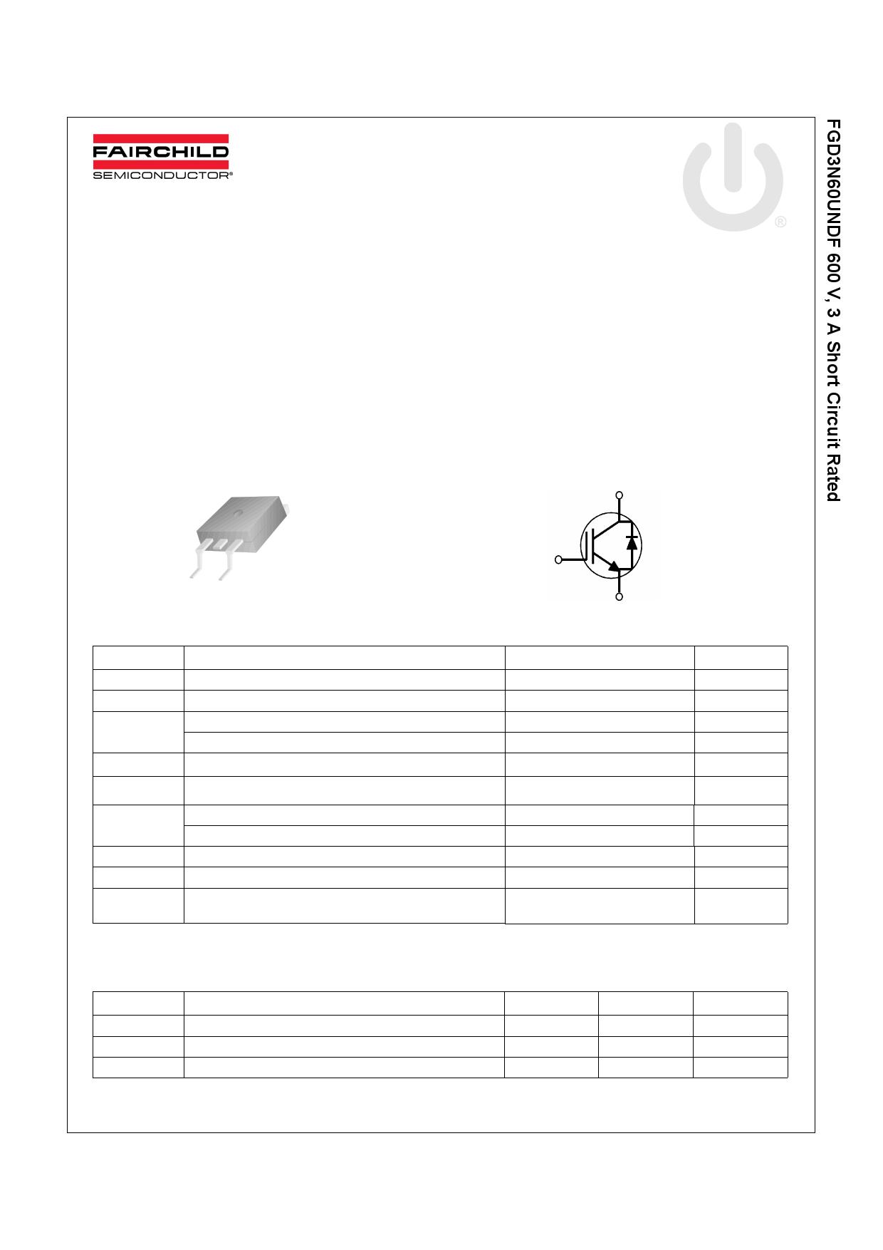 FGD3N60UNDF 데이터시트 및 FGD3N60UNDF PDF