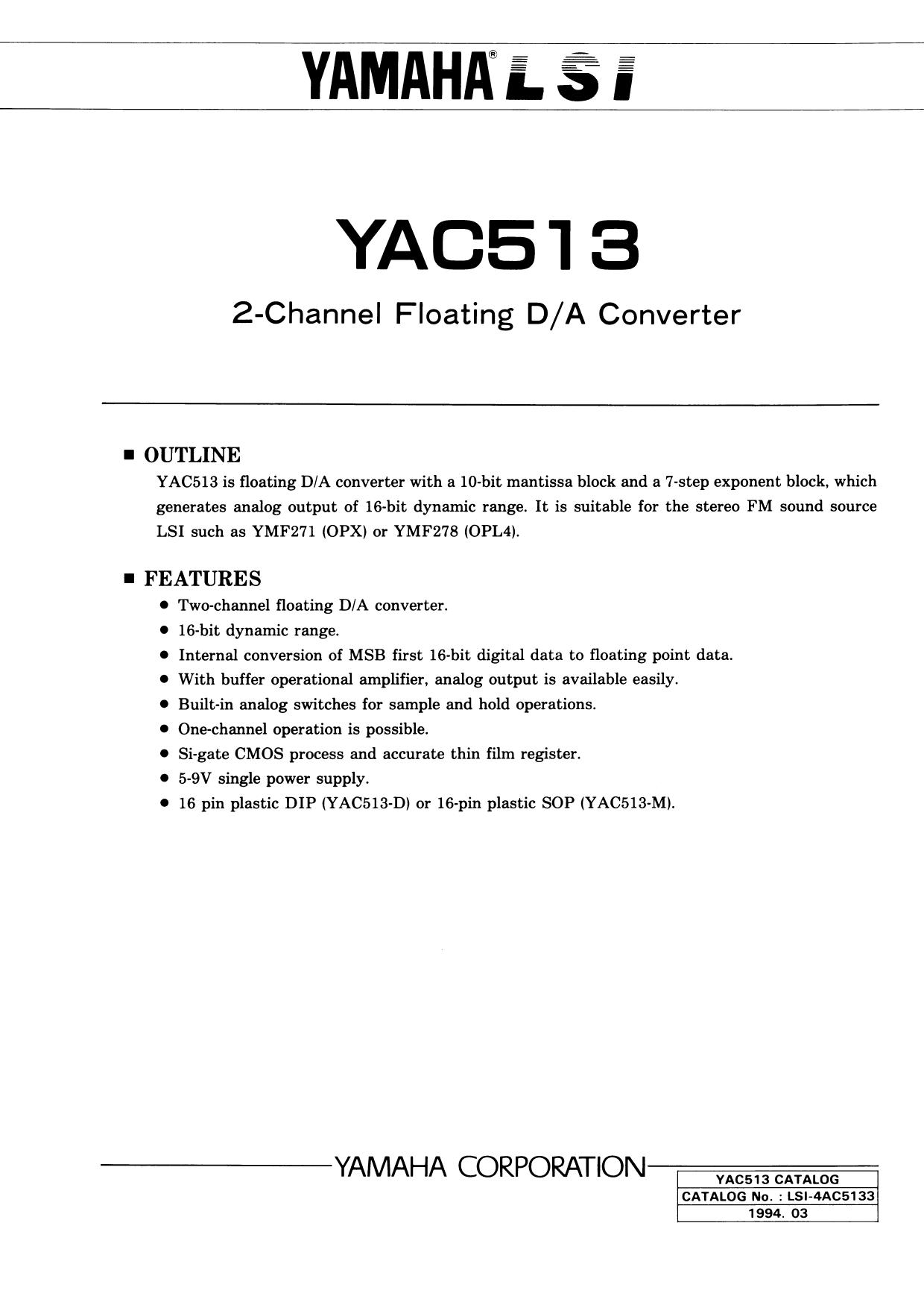 YAC513 دیتاشیت PDF