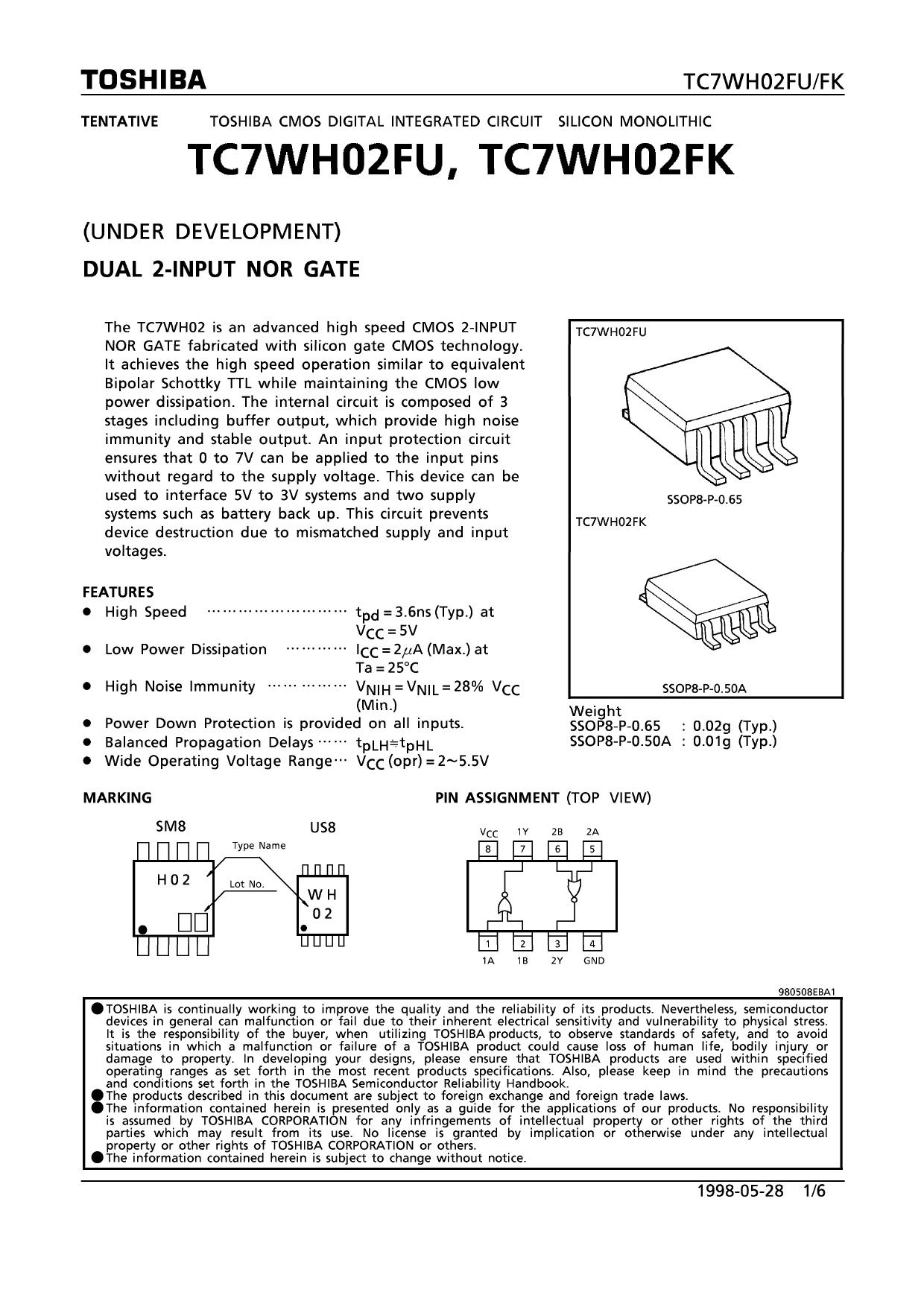 TC7WH02FU دیتاشیت PDF