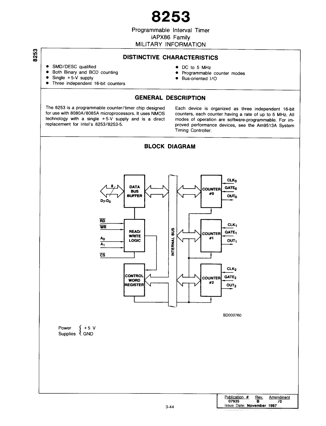 8253 数据手册( Datasheet PDF ) - Programmable interval Timer