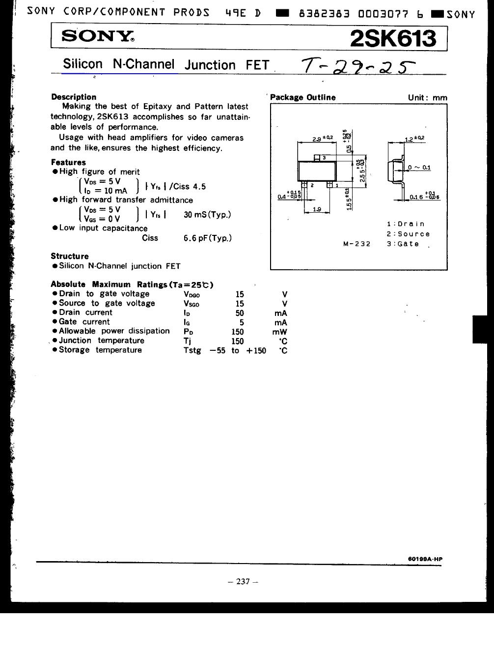 2SK613 datasheet