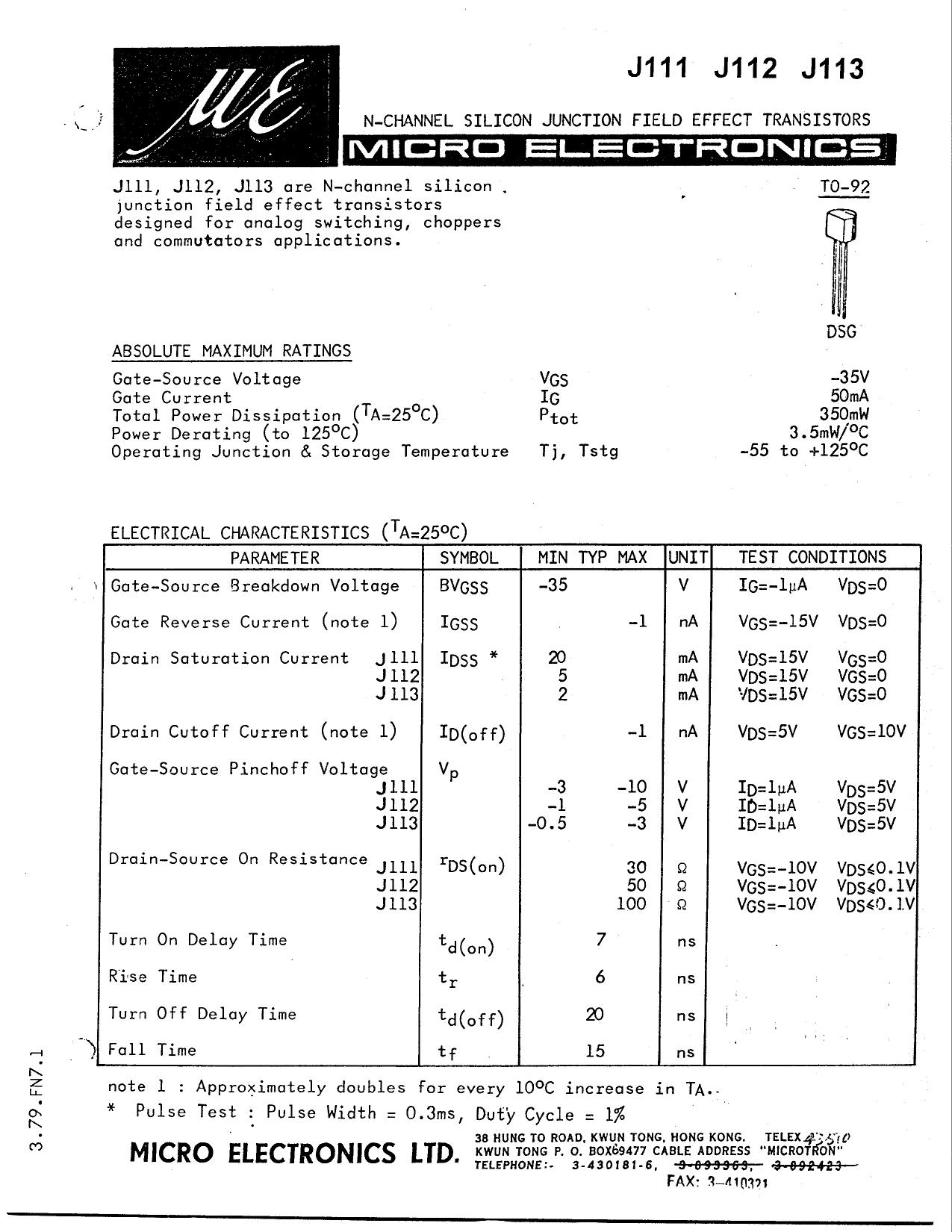 J111 datasheet