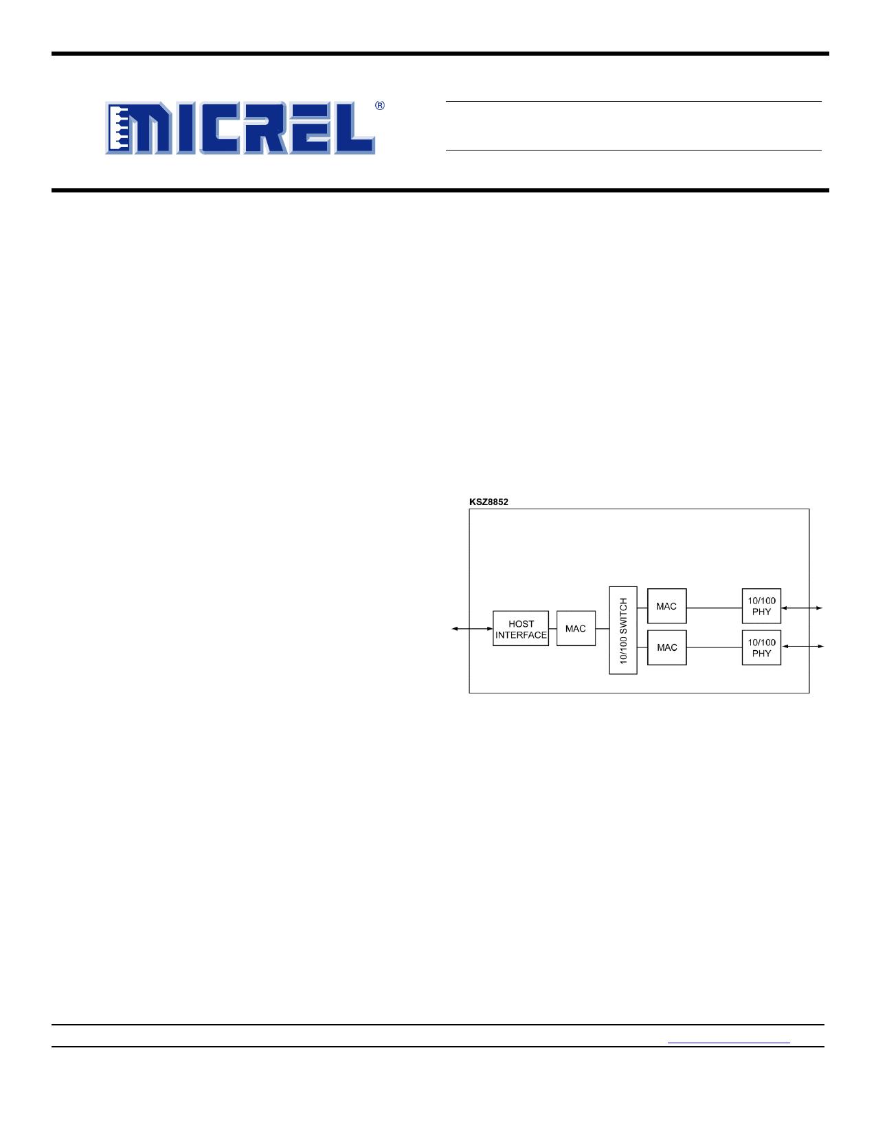 KSZ8852HLE دیتاشیت PDF