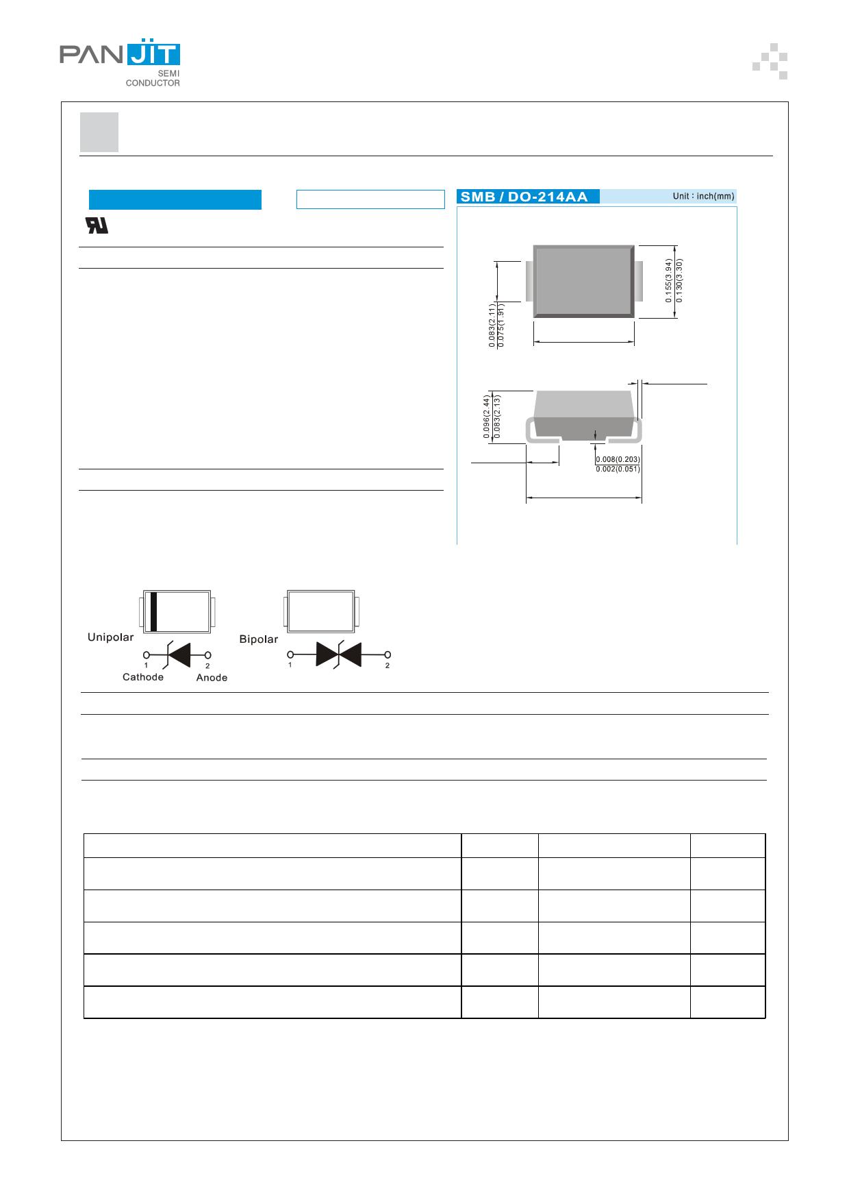 P6SMBJ43-AU دیتاشیت PDF