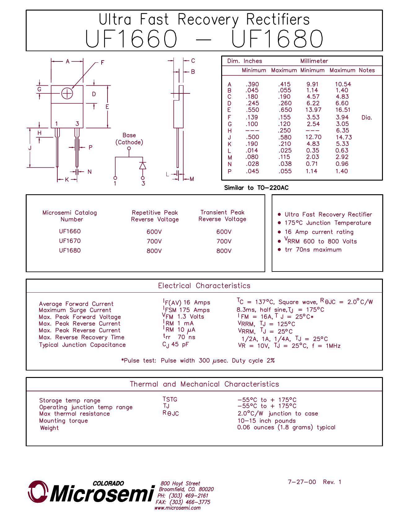 UF1680 데이터시트 및 UF1680 PDF