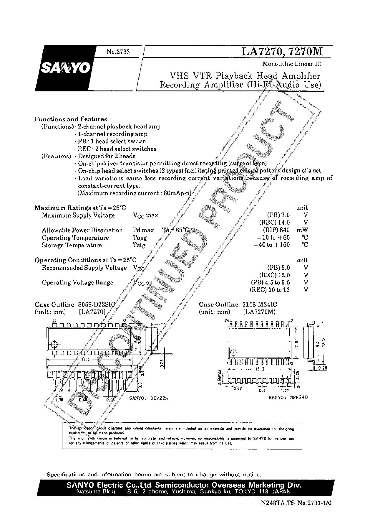 LA7270M دیتاشیت PDF