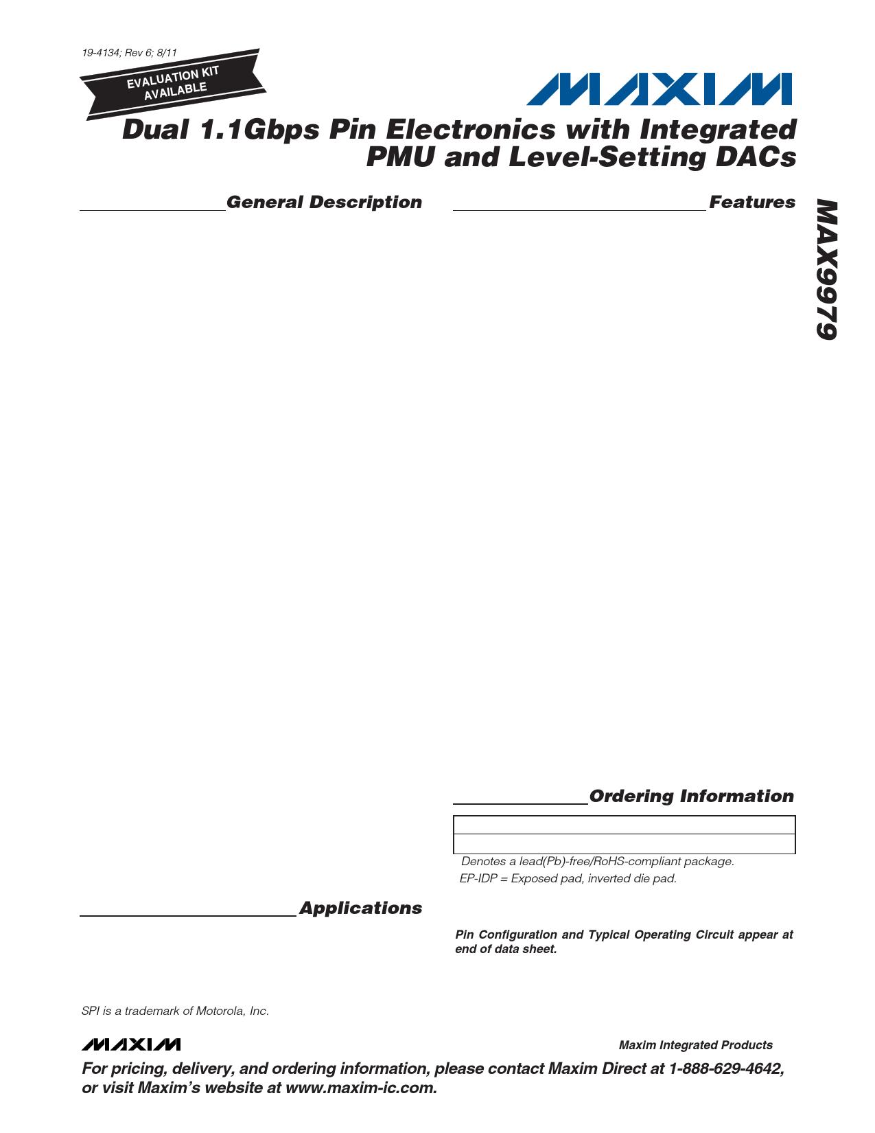 MAX9979 Datasheet, MAX9979 PDF,ピン配置, 機能