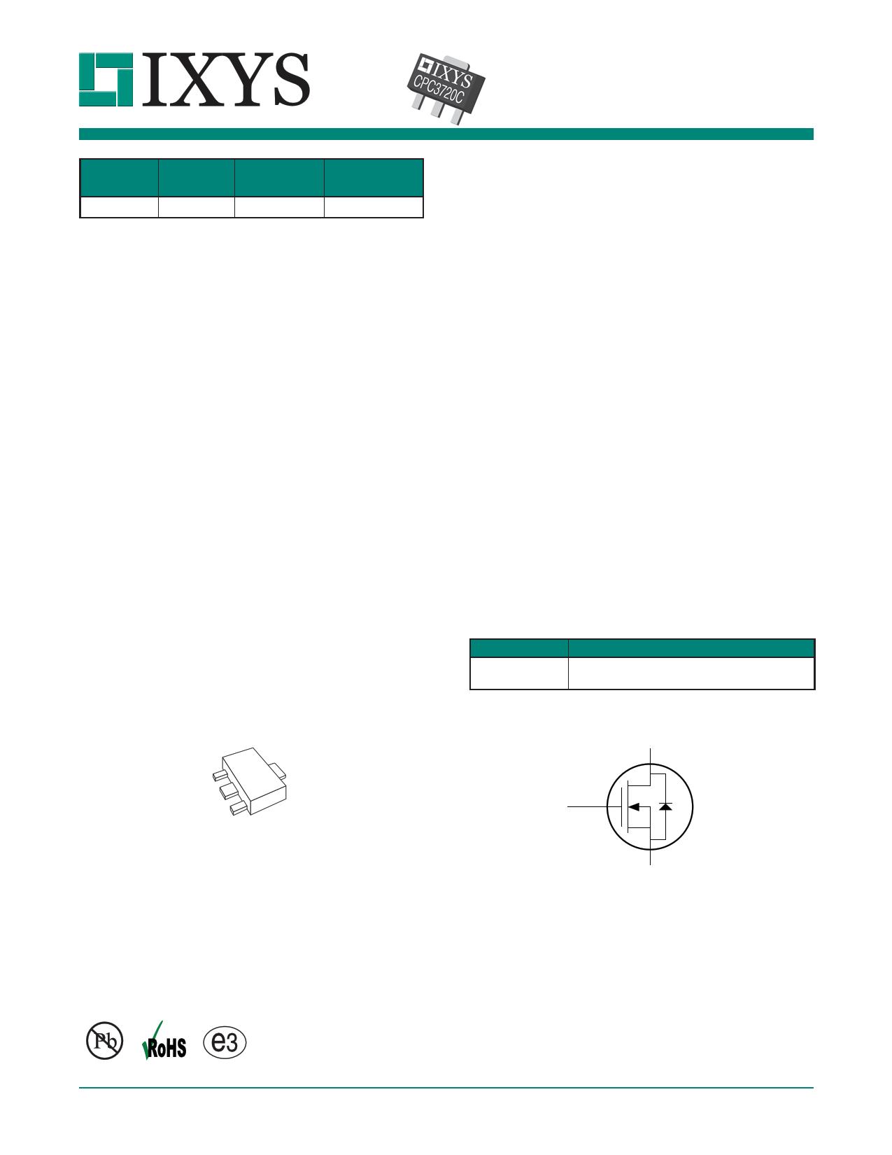 CPC3720 Datasheet, CPC3720 PDF,ピン配置, 機能