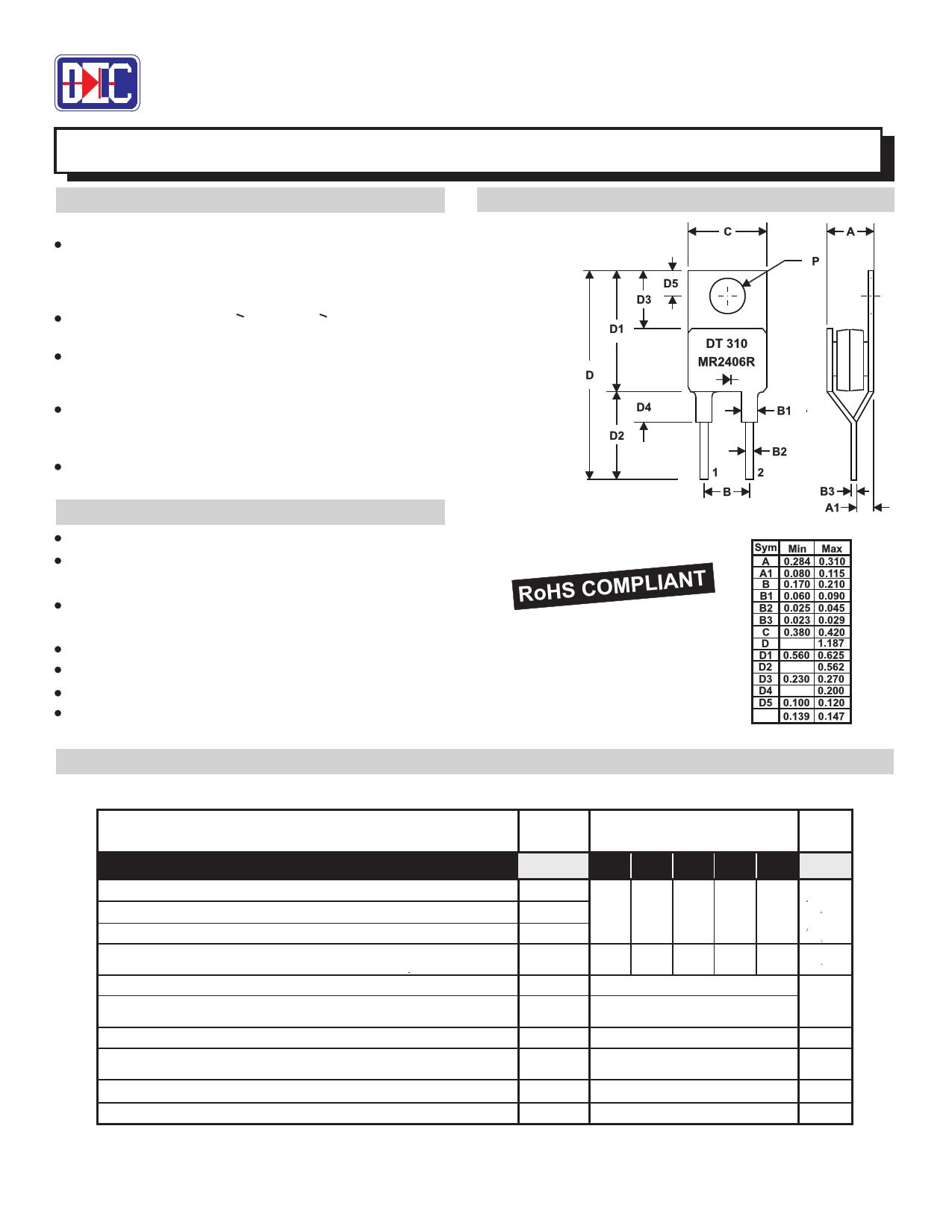 MR2406R 데이터시트 및 MR2406R PDF