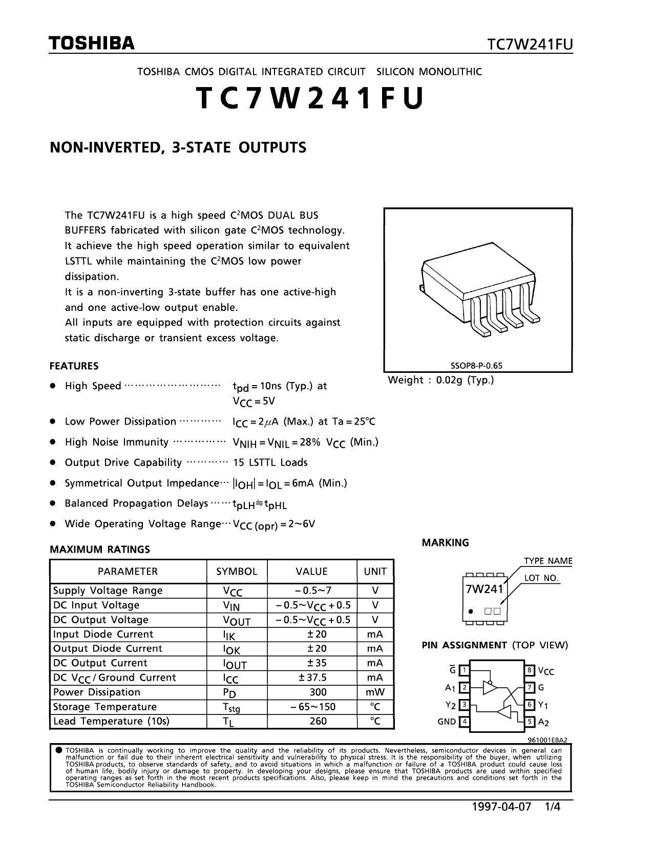 TC7W241 دیتاشیت PDF