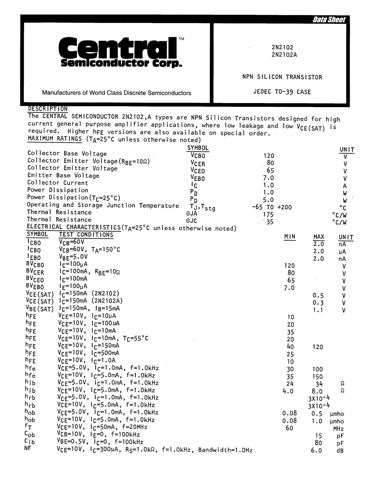 2n2102 datasheet pdf   pinout