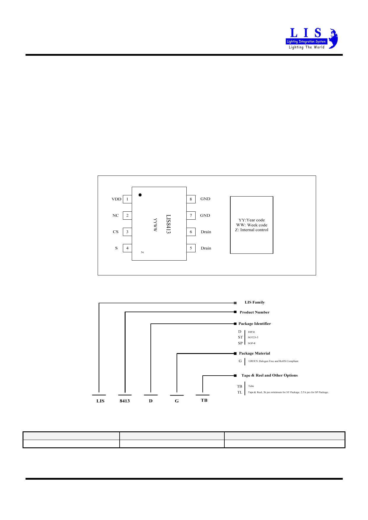LIS8413 pdf, ピン配列