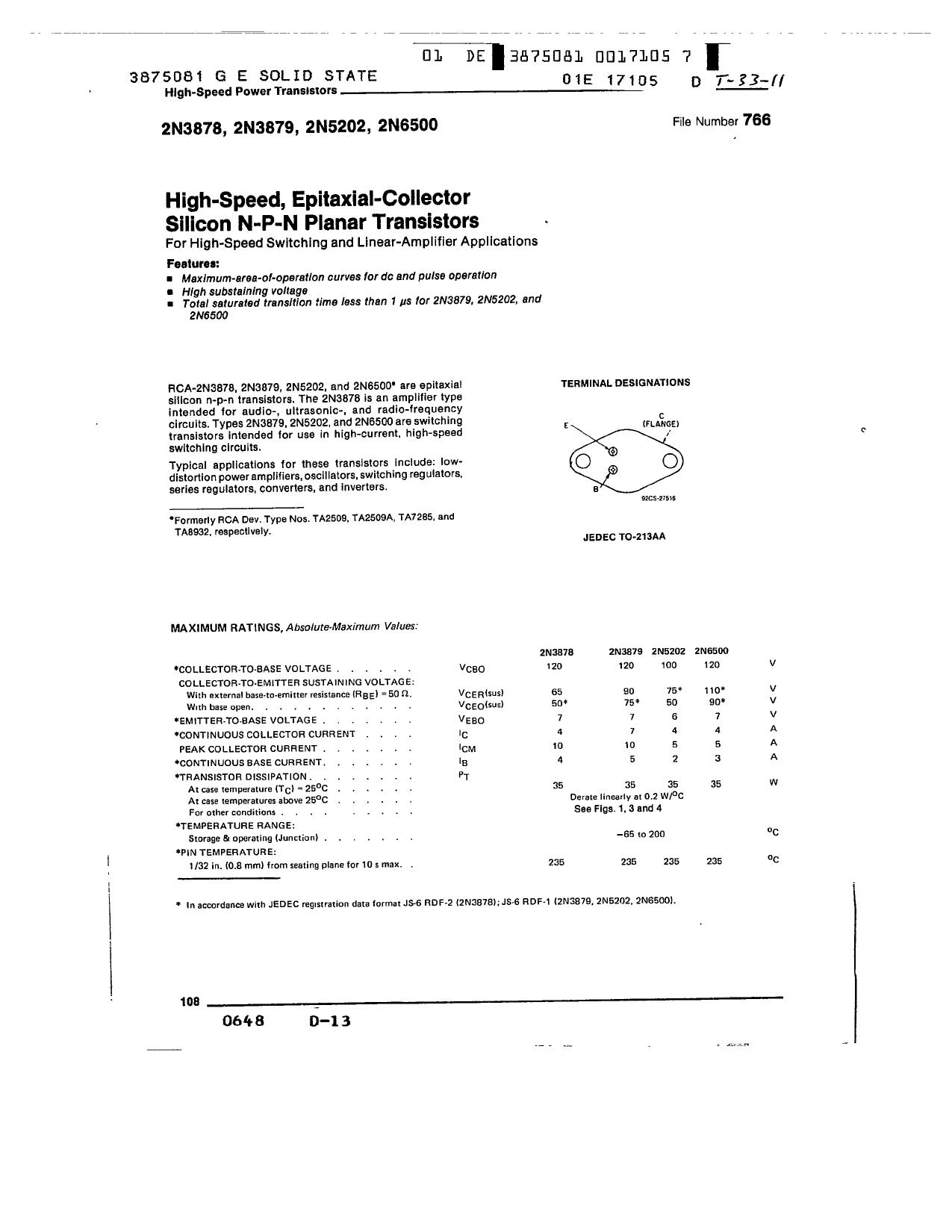 2N5202 دیتاشیت PDF