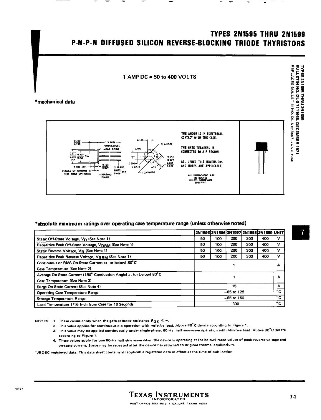 2N1598 دیتاشیت PDF