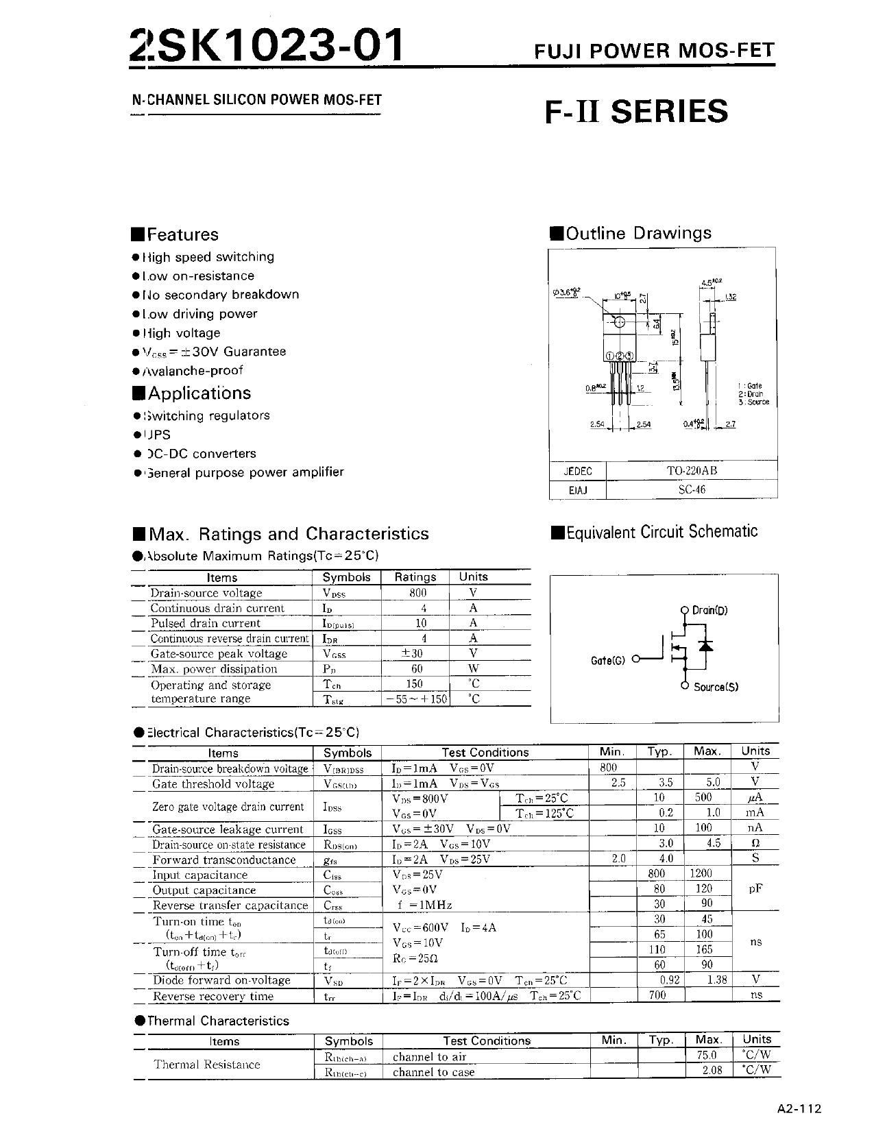 K1023-01 Hoja de datos, Descripción, Manual