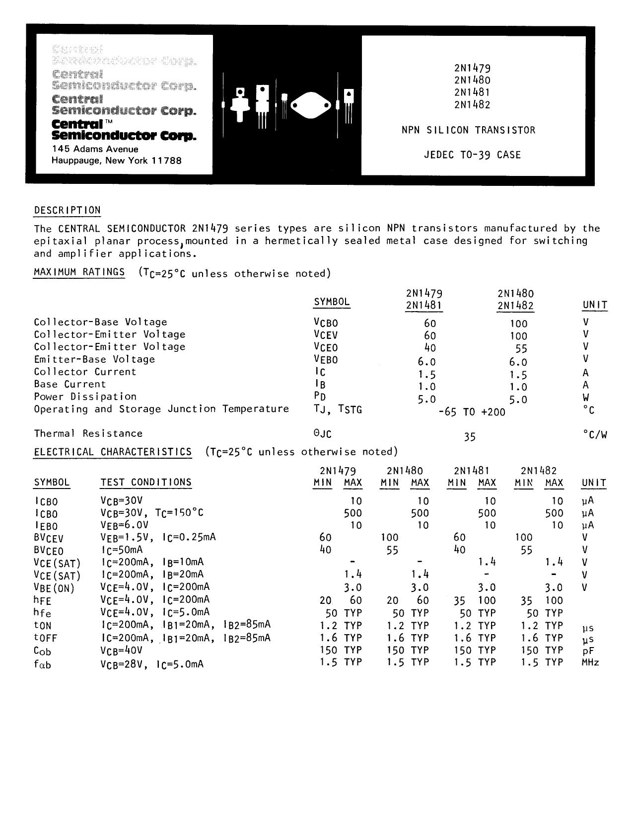 2N1482 datasheet