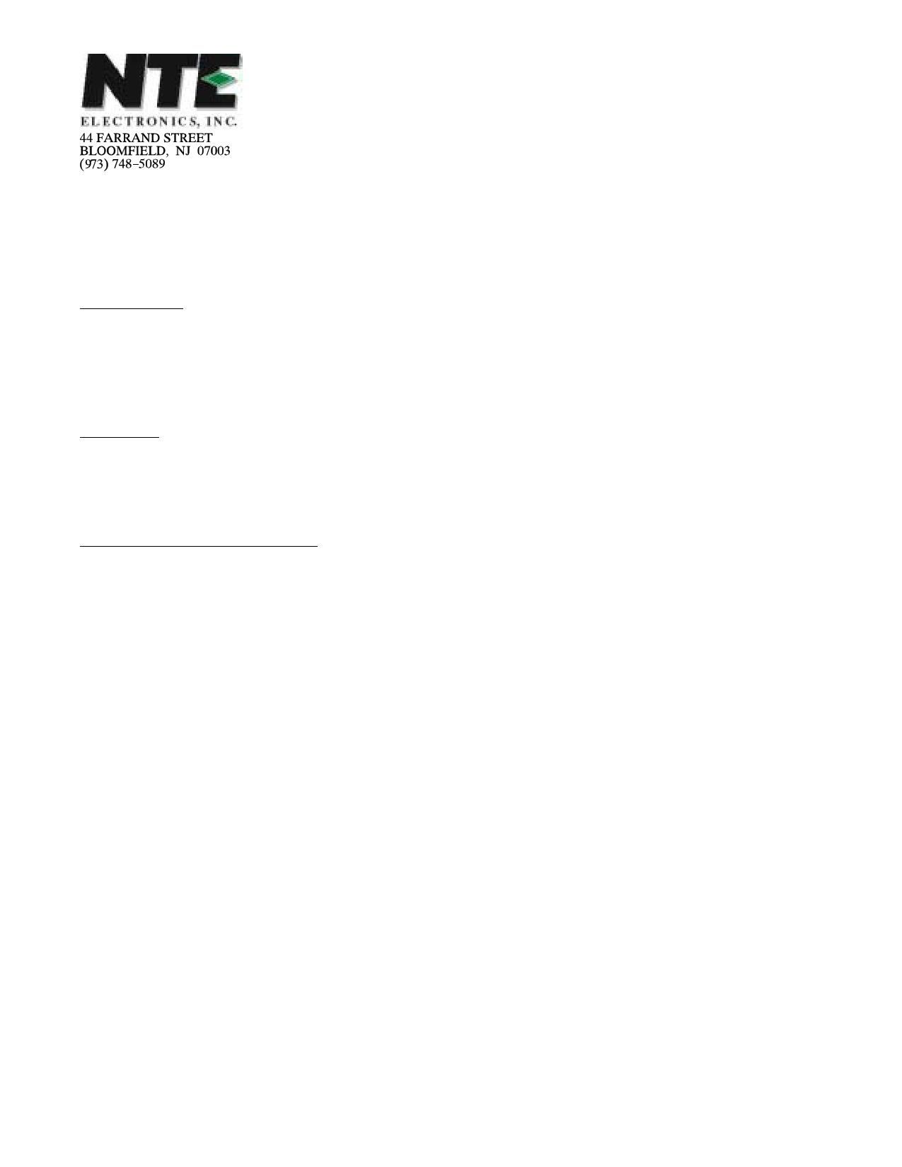 NTE5603 دیتاشیت PDF