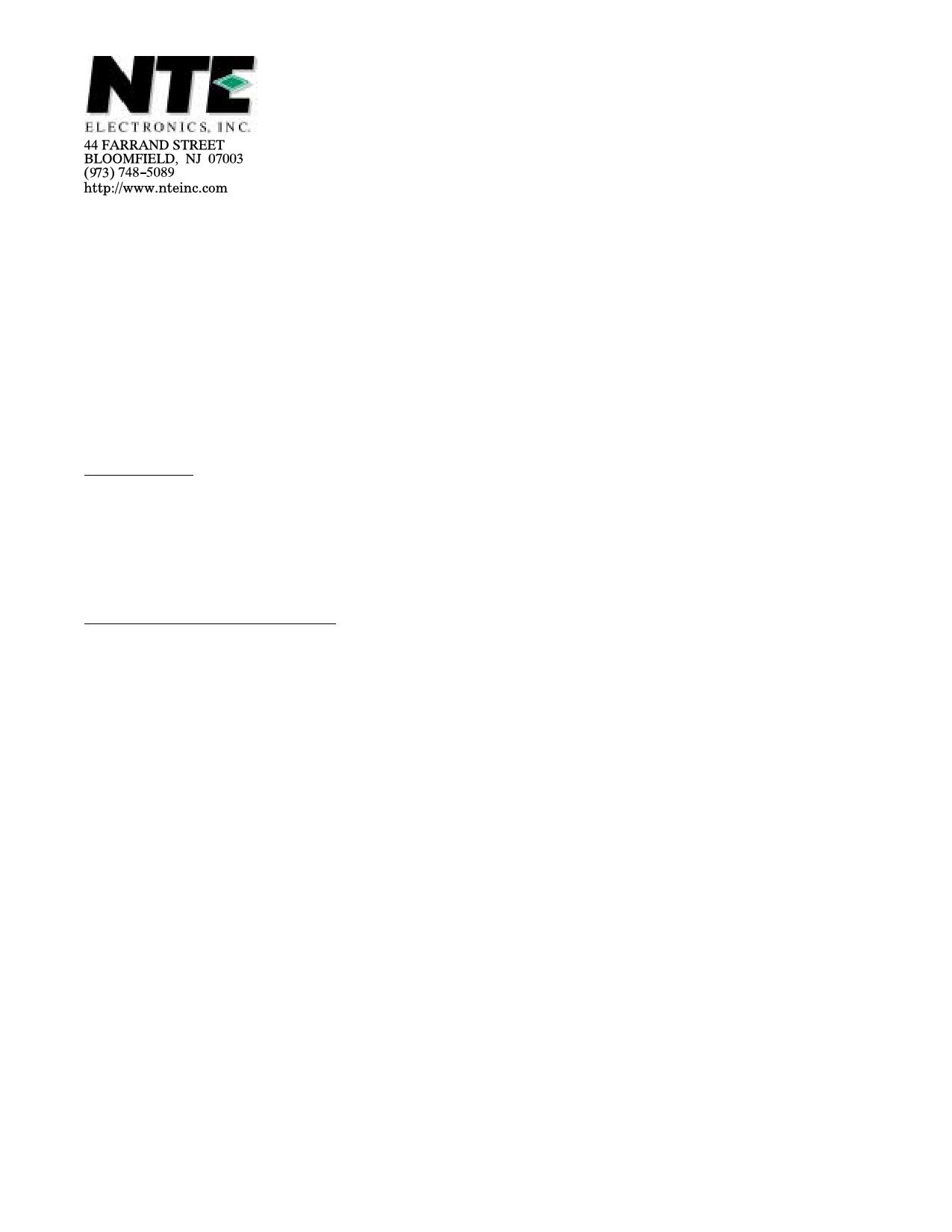NTE5452 دیتاشیت PDF