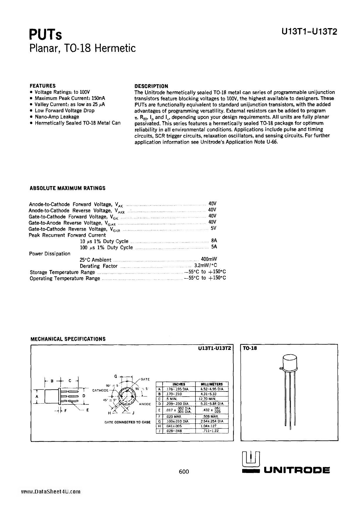 U13T1 datasheet