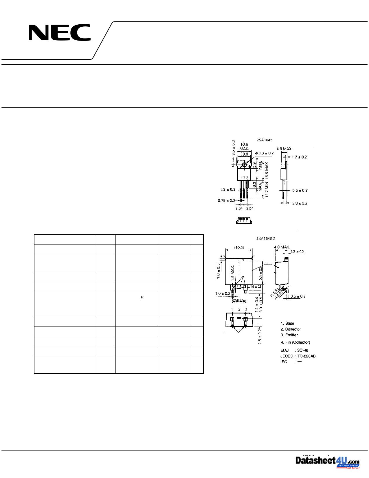 2SA1645-Z 데이터시트 및 2SA1645-Z PDF