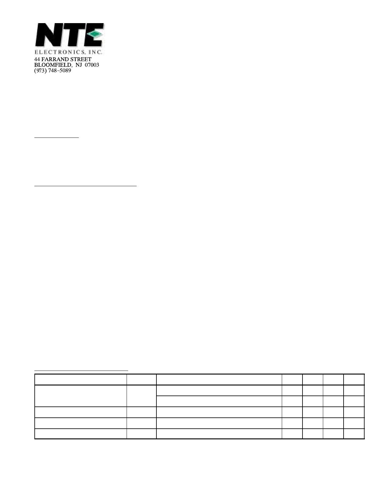 NTE56018 دیتاشیت PDF