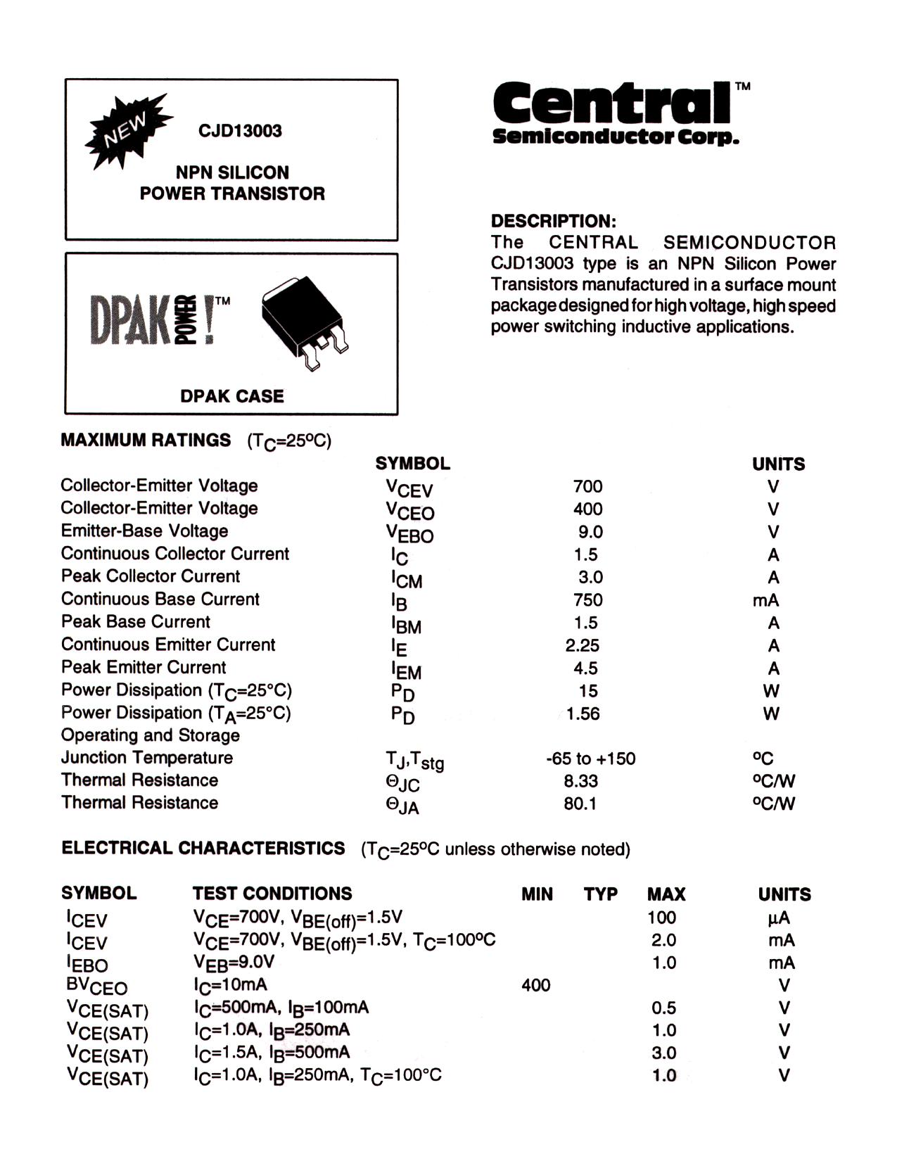 CJD13003 دیتاشیت PDF