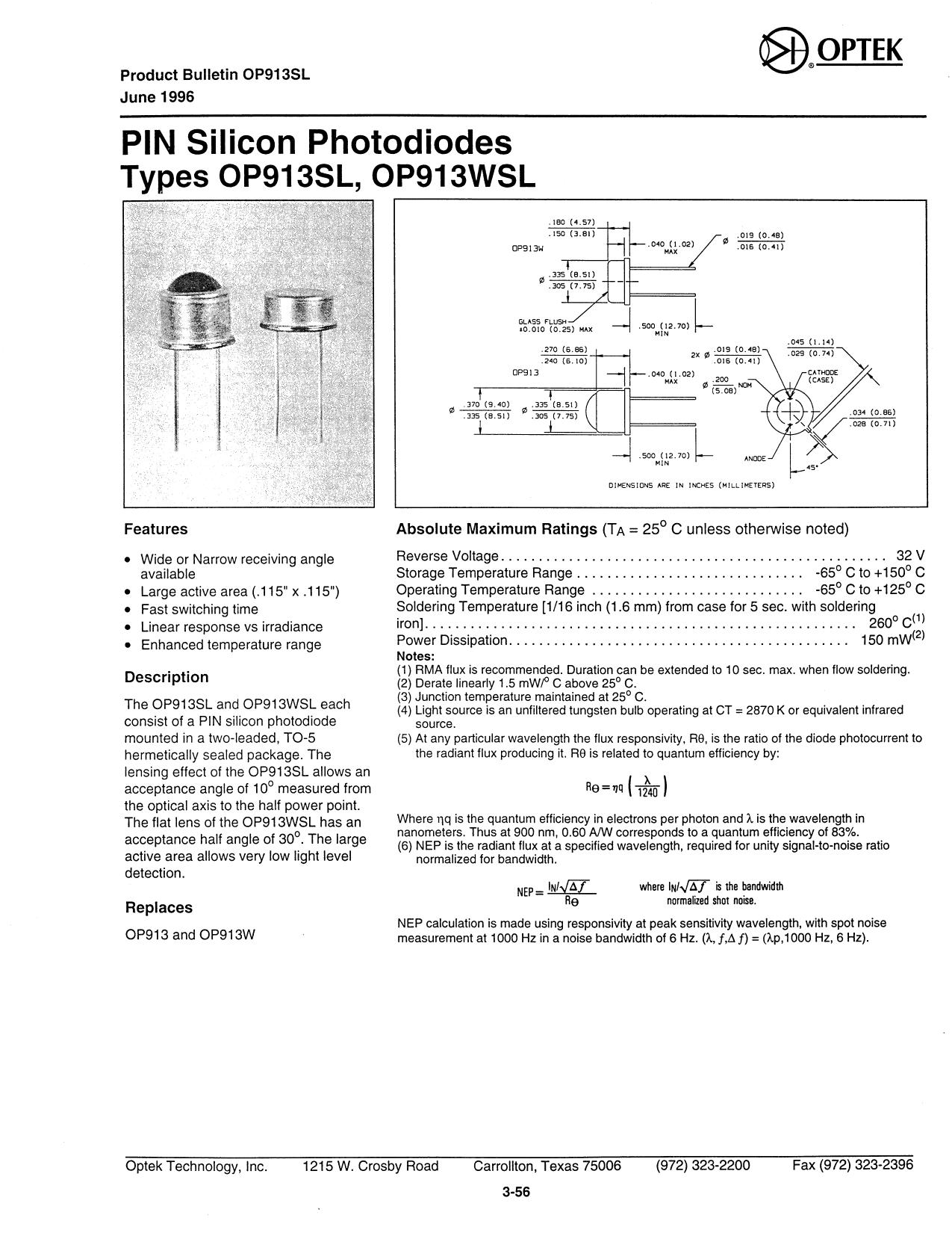 OP913SL datasheet, circuit
