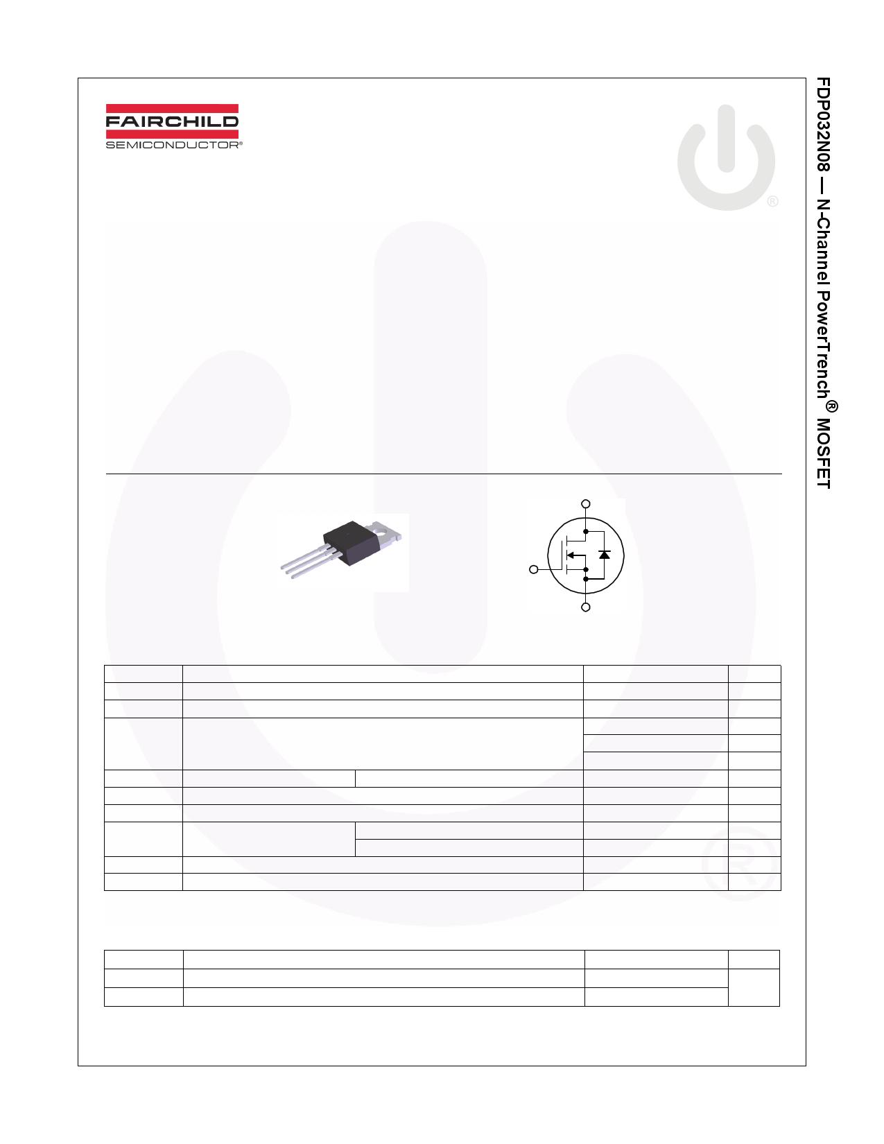 FDP032N08 데이터시트 및 FDP032N08 PDF